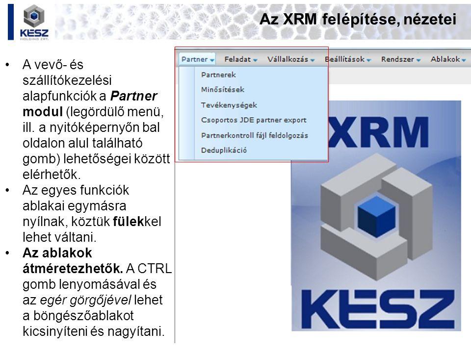 Az XRM felépítése, nézetei A vevő- és szállítókezelési alapfunkciók a Partner modul (legördülő menü, ill. a nyitóképernyőn bal oldalon alul található