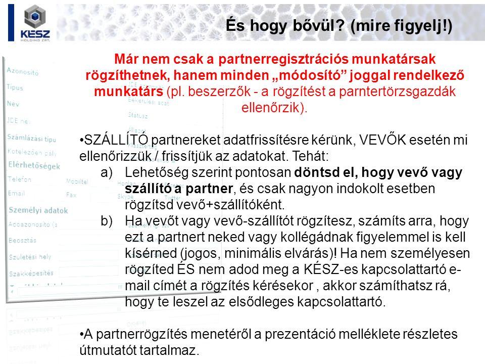 Melléklet 2: partnergazdák feladatai (1.) Partner JDE-export Tipp: Exportálni csak körültekintően szabad.