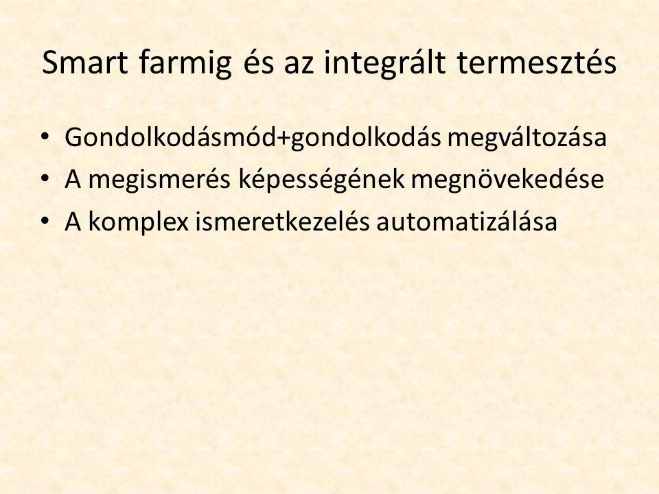 Smart farmig és az integrált termesztés Gondolkodásmód+gondolkodás megváltozása A megismerés képességének megnövekedése A komplex ismeretkezelés automatizálása