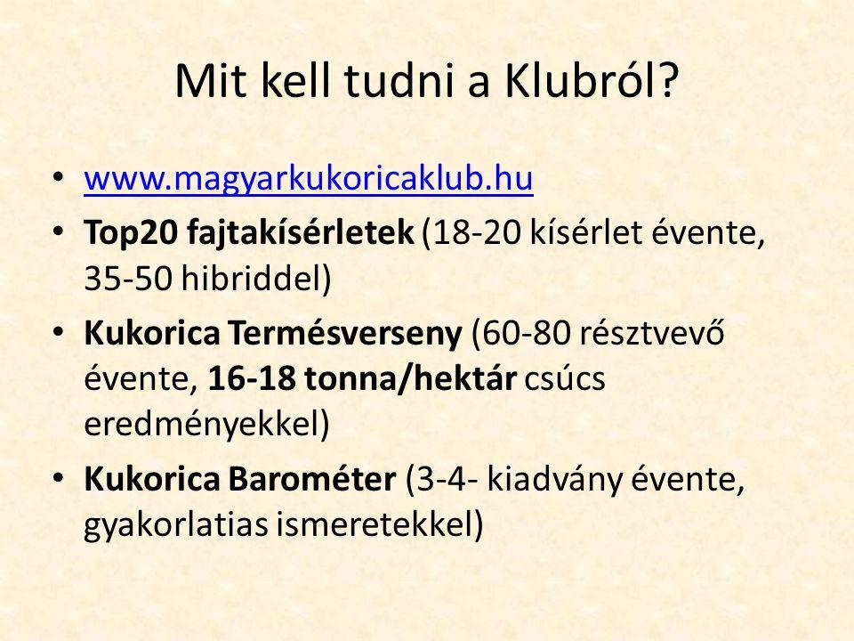 Mit kell tudni a Klubról? www.magyarkukoricaklub.hu Top20 fajtakísérletek (18-20 kísérlet évente, 35-50 hibriddel) Kukorica Termésverseny (60-80 részt