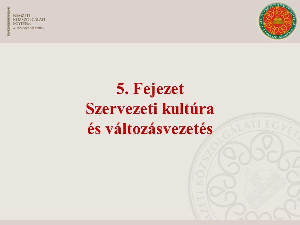 5. Fejezet Szervezeti kultúra és változásvezetés