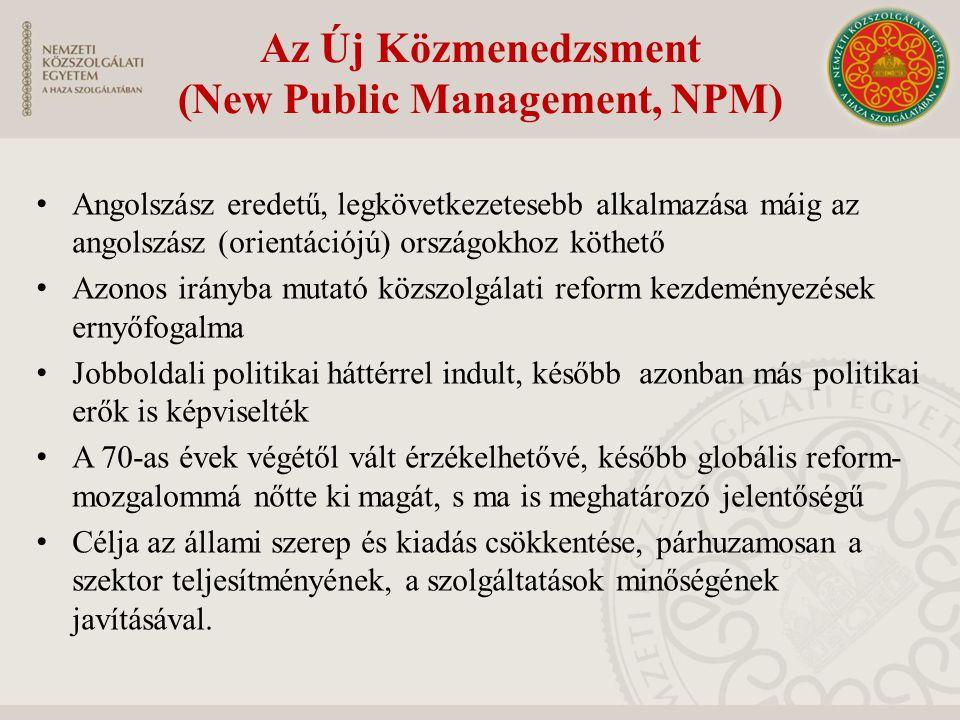 Az Új Közmenedzsment (New Public Management, NPM) Angolszász eredetű, legkövetkezetesebb alkalmazása máig az angolszász (orientációjú) országokhoz köt