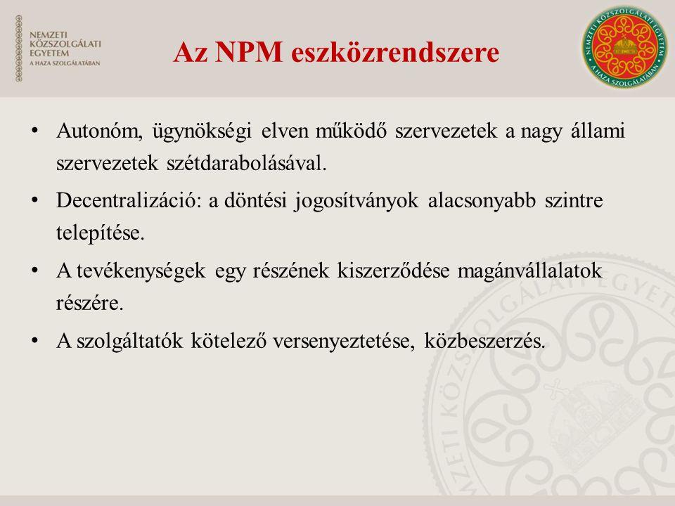 Az NPM eszközrendszere Autonóm, ügynökségi elven működő szervezetek a nagy állami szervezetek szétdarabolásával. Decentralizáció: a döntési jogosítván