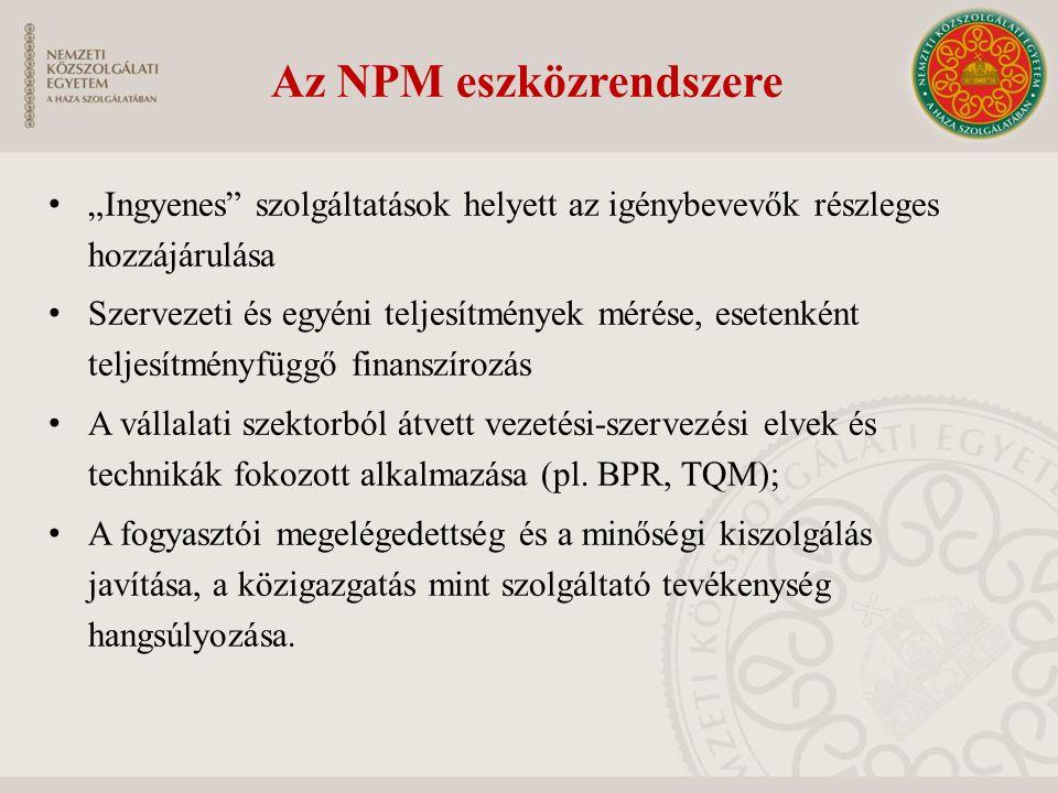 """Az NPM eszközrendszere """"Ingyenes"""" szolgáltatások helyett az igénybevevők részleges hozzájárulása Szervezeti és egyéni teljesítmények mérése, esetenkén"""
