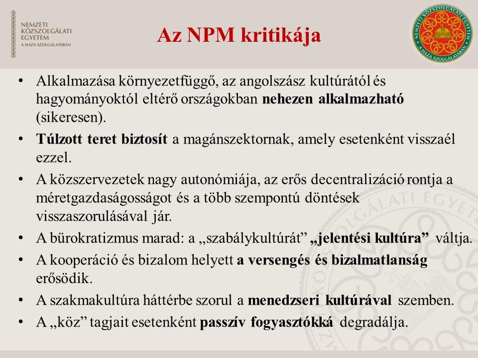 Az NPM kritikája Alkalmazása környezetfüggő, az angolszász kultúrától és hagyományoktól eltérő országokban nehezen alkalmazható (sikeresen). Túlzott t