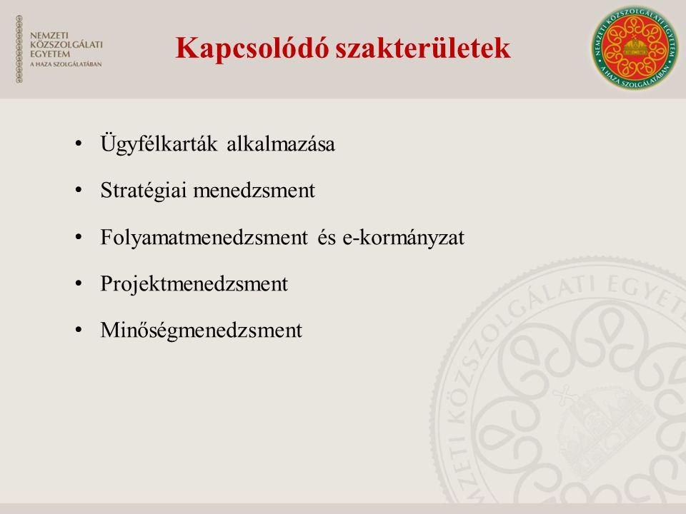 Kapcsolódó szakterületek Ügyfélkarták alkalmazása Stratégiai menedzsment Folyamatmenedzsment és e-kormányzat Projektmenedzsment Minőségmenedzsment