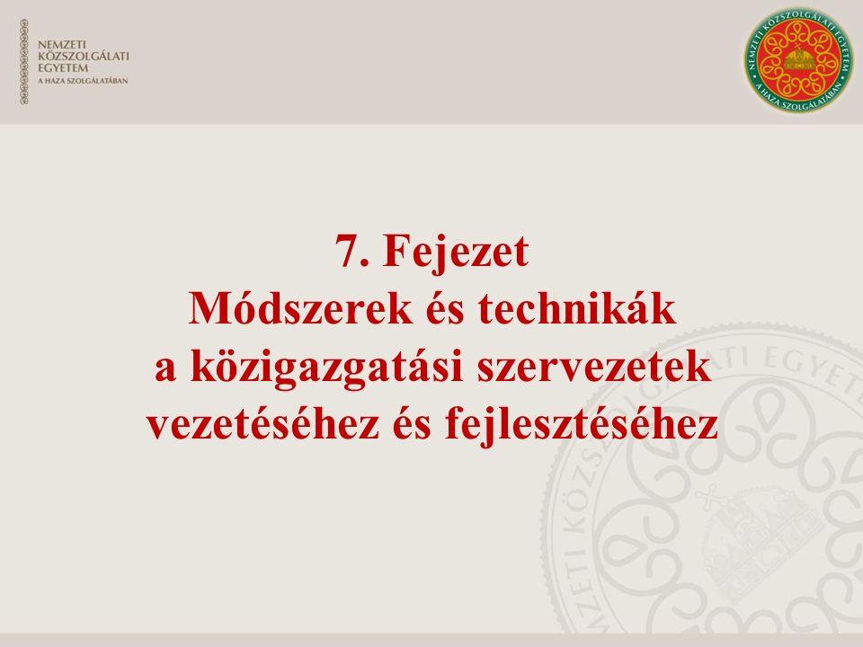 7. Fejezet Módszerek és technikák a közigazgatási szervezetek vezetéséhez és fejlesztéséhez
