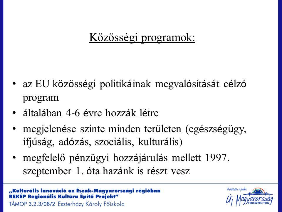Közösségi programok: az EU k ö z ö ss é gi politik á inak megval ó s í t á s á t c é lz ó program á ltal á ban 4-6 é vre hozz á k l é tre megjelen é se szinte minden ter ü leten (eg é szs é g ü gy, ifj ú s á g, ad ó z á s, szoci á lis, kultur á lis) megfelelő p é nz ü gyi hozz á j á rul á s mellett 1997.