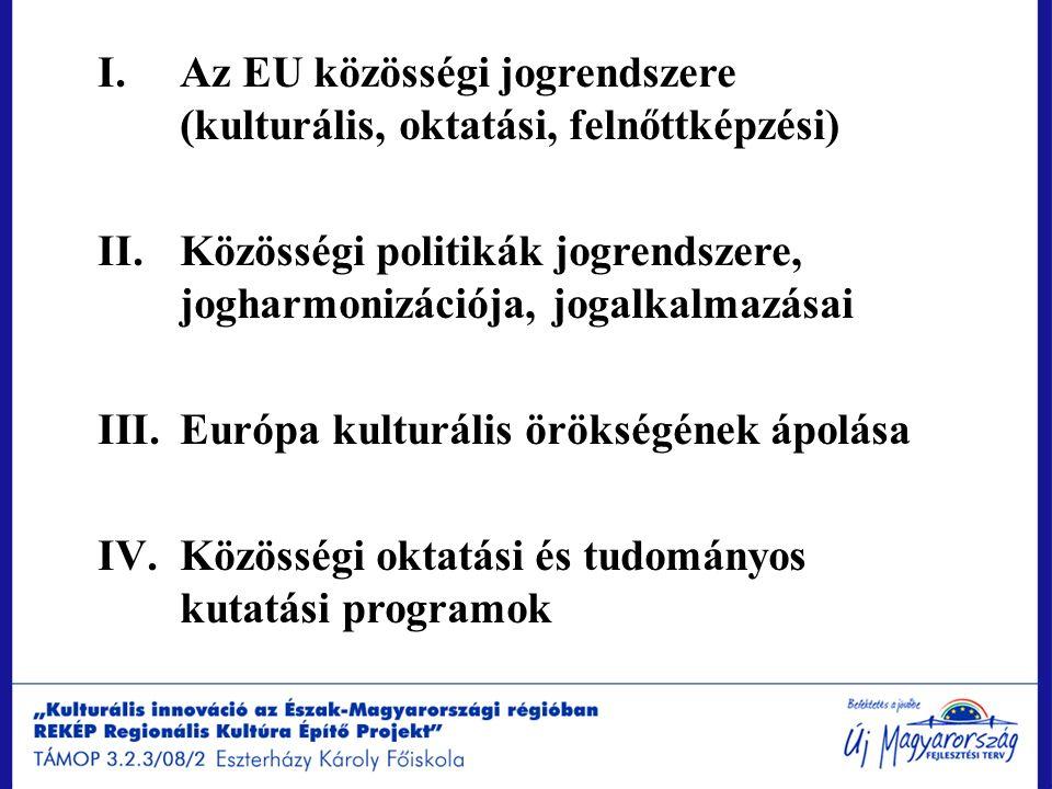 I.Az EU közösségi jogrendszere (kulturális, oktatási, felnőttképzési) II.Közösségi politikák jogrendszere, jogharmonizációja, jogalkalmazásai III.Euró