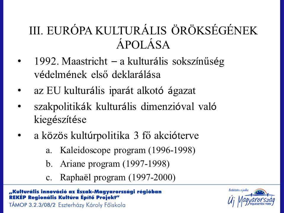 III. EURÓPA KULTURÁLIS ÖRÖKSÉGÉNEK ÁPOLÁSA 1992. Maastricht – a kultur á lis soksz í nűs é g v é delm é nek első deklar á l á sa az EU kultur á lis ip
