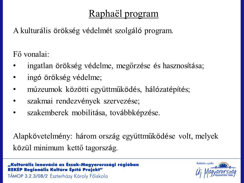 Raphaël program A kultur á lis ö r ö ks é g v é delm é t szolg á l ó program. Fő vonalai: ingatlan ö r ö ks é g v é delme, megőrz é se é s hasznos í t
