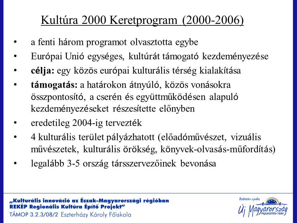 Kultúra 2000 Keretprogram (2000-2006) a fenti h á rom programot olvasztotta egybe Eur ó pai Uni ó egys é ges, kult ú r á t t á mogat ó kezdem é nyez é
