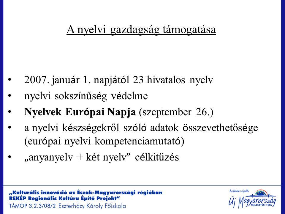 A nyelvi gazdagság támogatása 2007. janu á r 1. napj á t ó l 23 hivatalos nyelv nyelvi soksz í nűs é g v é delme Nyelvek Eur ó pai Napja (szeptember 2
