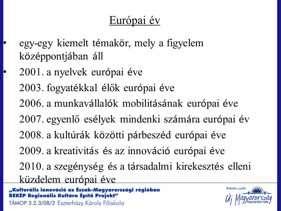 Európai év egy-egy kiemelt t é mak ö r, mely a figyelem k ö z é ppontj á ban á ll 2001. a nyelvek eur ó pai é ve 2003. fogyat é kkal é lők eur ó pai é