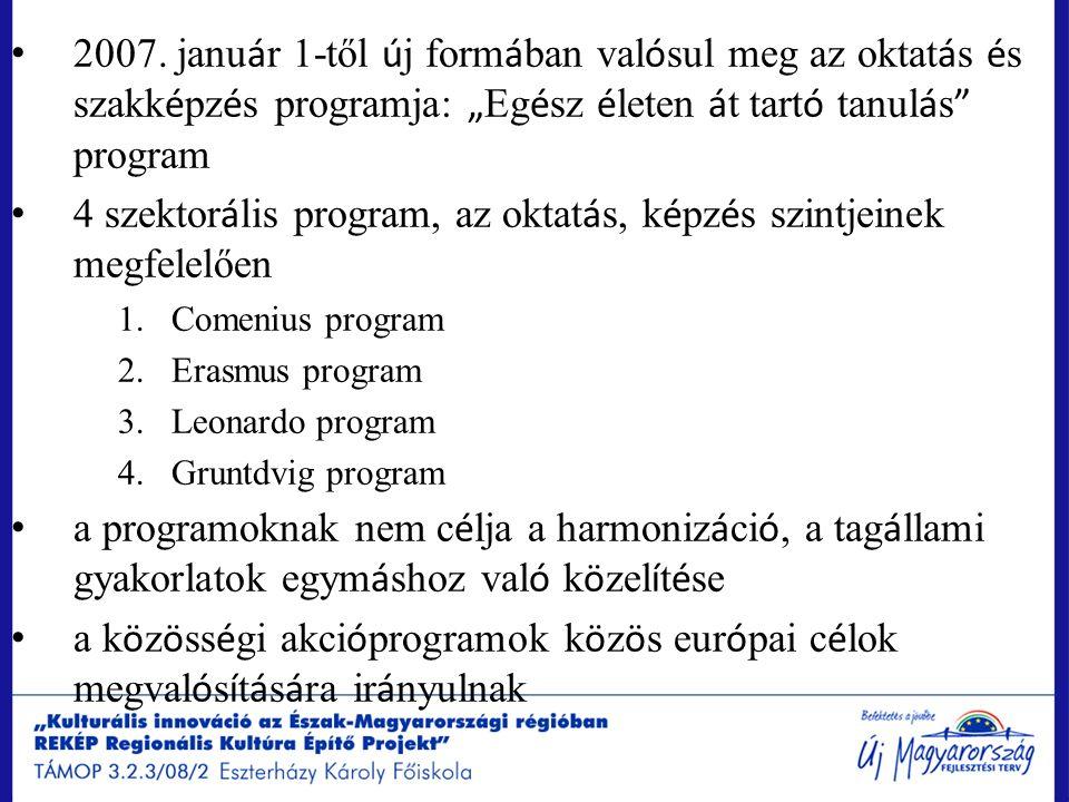 """2007. janu á r 1-től ú j form á ban val ó sul meg az oktat á s é s szakk é pz é s programja: """" Eg é sz é leten á t tart ó tanul á s """" program 4 szekto"""