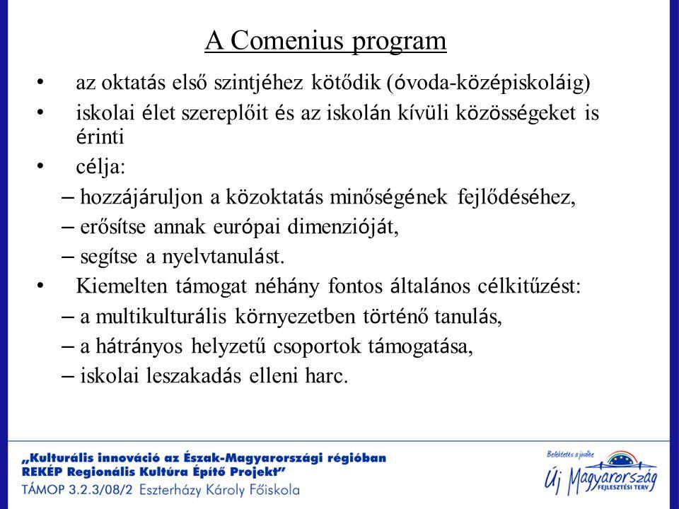 A Comenius program az oktat á s első szintj é hez k ö tődik ( ó voda-k ö z é piskol á ig) iskolai é let szereplőit é s az iskol á n k í v ü li k ö z ö