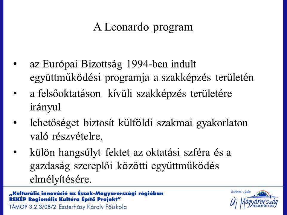 A Leonardo program az Eur ó pai Bizotts á g 1994-ben indult egy ü ttműk ö d é si programja a szakk é pz é s ter ü let é n a felsőoktat á son k í v ü l