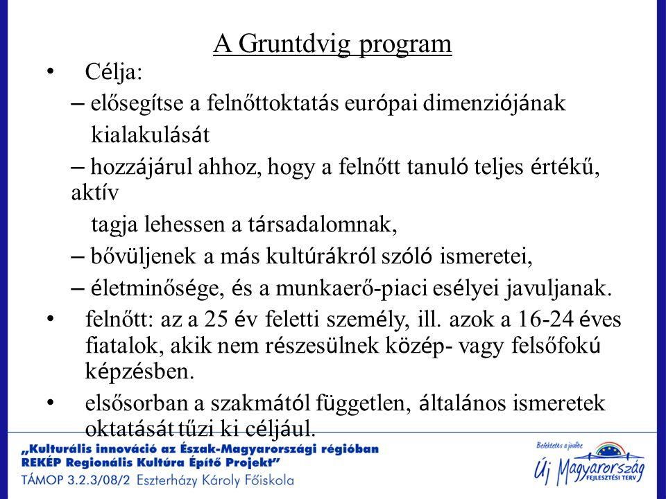 A Gruntdvig program C é lja: – előseg í tse a felnőttoktat á s eur ó pai dimenzi ó j á nak kialakul á s á t – hozz á j á rul ahhoz, hogy a felnőtt tan