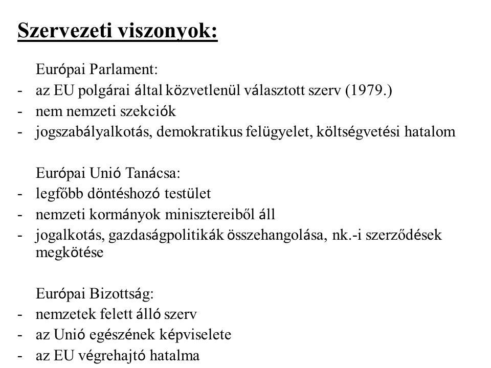 Szervezeti viszonyok: Eur ó pai Parlament: -az EU polg á rai á ltal k ö zvetlen ü l v á lasztott szerv (1979.) -nem nemzeti szekci ó k -jogszab á lyal