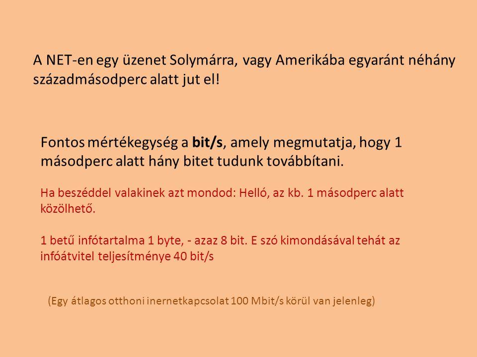 A NET-en egy üzenet Solymárra, vagy Amerikába egyaránt néhány századmásodperc alatt jut el! Fontos mértékegység a bit/s, amely megmutatja, hogy 1 máso