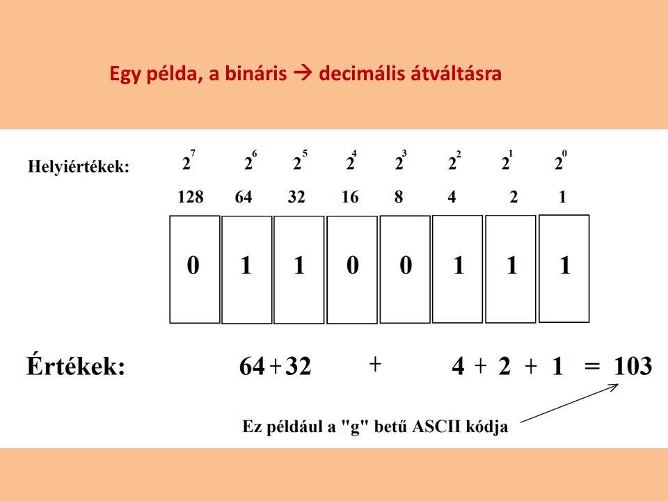 Egy példa, a bináris  decimális átváltásra