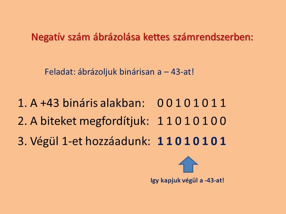 00101011 11010100 11010101 1. A +43 bináris alakban: 2. A biteket megfordítjuk: 3. Végül 1-et hozzáadunk: Negatív szám ábrázolása kettes számrendszerb