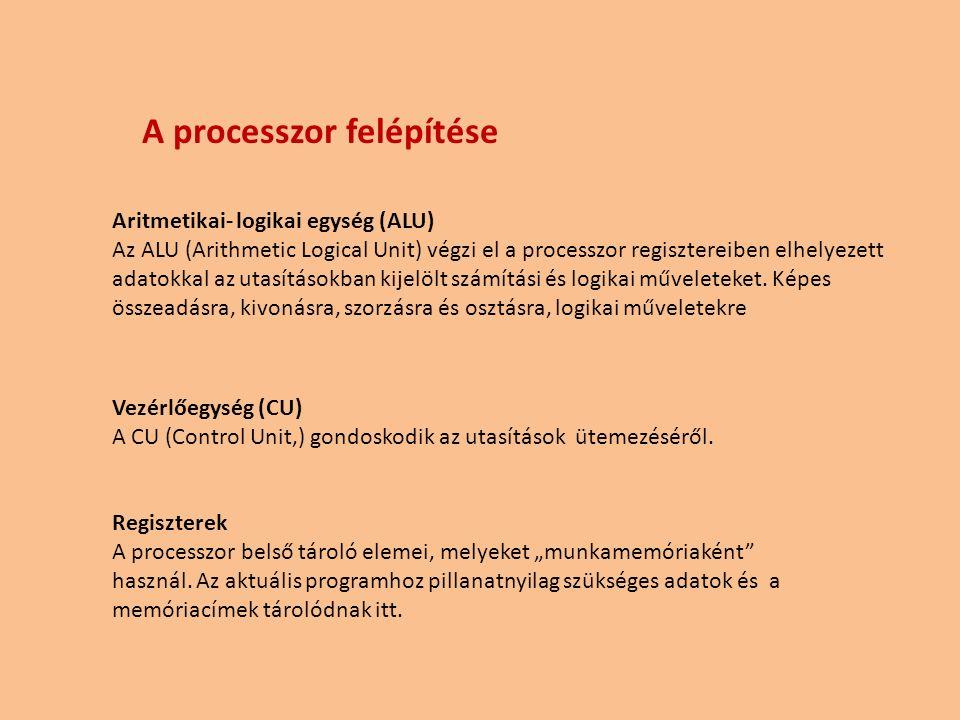 """Vezérlőegység (CU) A CU (Control Unit,) gondoskodik az utasítások ütemezéséről. Regiszterek A processzor belső tároló elemei, melyeket """"munkamemóriaké"""