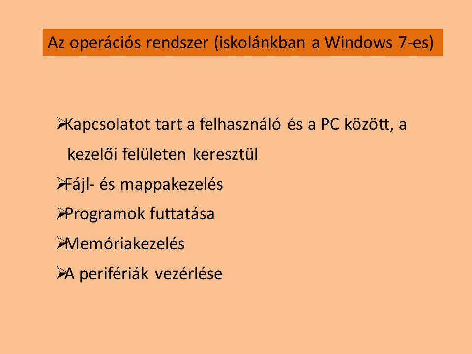Az operációs rendszer (iskolánkban a Windows 7-es)  Kapcsolatot tart a felhasználó és a PC között, a kezelői felületen keresztül  Fájl- és mappakeze