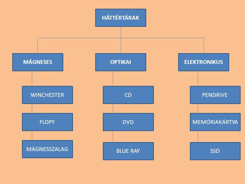 HÁTTÉRTÁRAK MÁGNESESOPTIKAIELEKTRONIKUS WINCHESTER FLOPY MÁGNESSZALAG CD DVD BLUE RAY PENDRIVE MEMÓRIAKÁRTYA SSD
