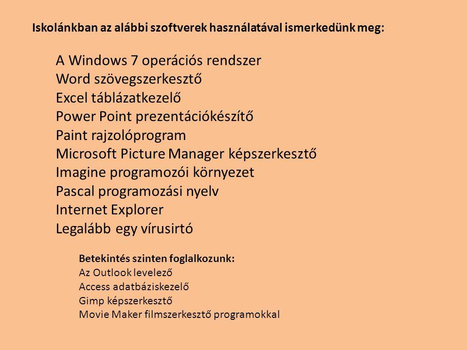 Iskolánkban az alábbi szoftverek használatával ismerkedünk meg: A Windows 7 operációs rendszer Word szövegszerkesztő Excel táblázatkezelő Power Point