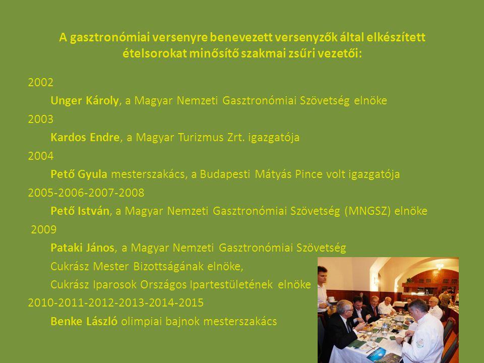 A gasztronómiai versenyre benevezett versenyzők által elkészített ételsorokat minősítő szakmai zsűri vezetői: 2002 Unger Károly, a Magyar Nemzeti Gasz