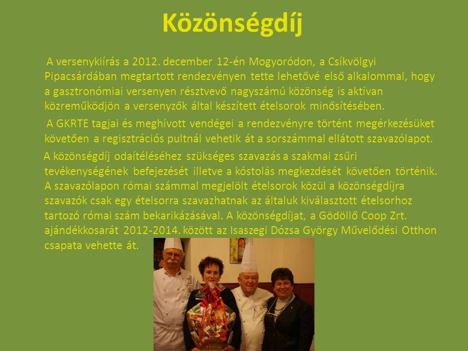 Közönségdíj A versenykiírás a 2012. december 12-én Mogyoródon, a Csíkvölgyi Pipacsárdában megtartott rendezvényen tette lehetővé első alkalommal, hogy