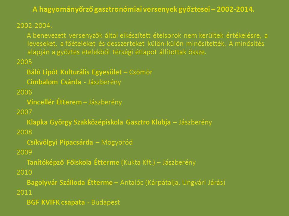 A hagyományőrző gasztronómiai versenyek győztesei – 2002-2014. 2002-2004. A benevezett versenyzők által elkészített ételsorok nem kerültek értékelésre