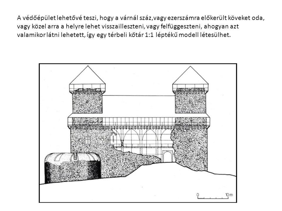 A védőépület lehetővé teszi, hogy a várnál száz,vagy ezerszámra előkerült köveket oda, vagy közel arra a helyre lehet visszailleszteni, vagy felfügges
