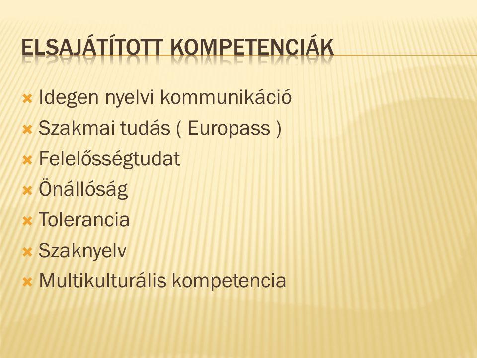  Idegen nyelvi kommunikáció  Szakmai tudás ( Europass )  Felelősségtudat  Önállóság  Tolerancia  Szaknyelv  Multikulturális kompetencia