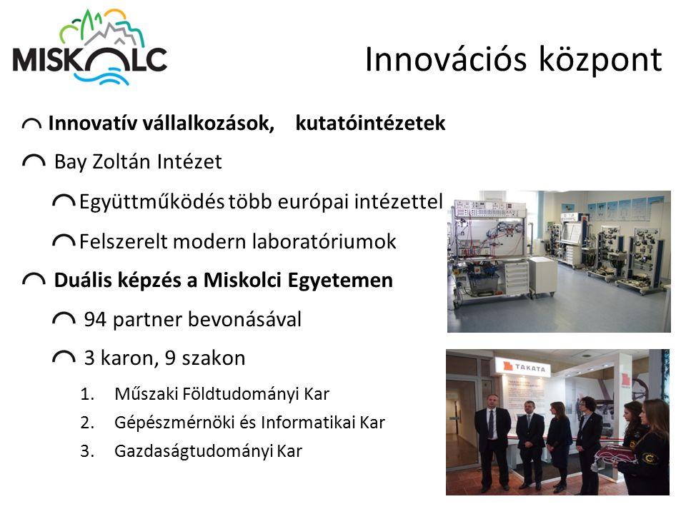 Innovációs központ Innovatív vállalkozások, kutatóintézetek Bay Zoltán Intézet Együttműködés több európai intézettel Felszerelt modern laboratóriumok