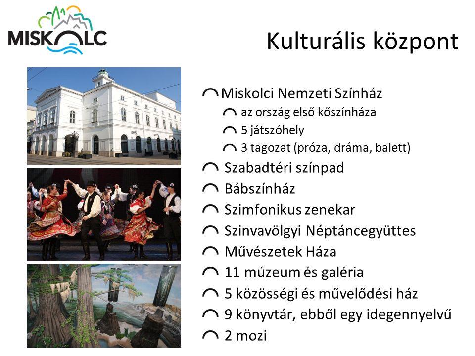 Kulturális központ Miskolci Nemzeti Színház az ország első kőszínháza 5 játszóhely 3 tagozat (próza, dráma, balett) Szabadtéri színpad Bábszínház Szim