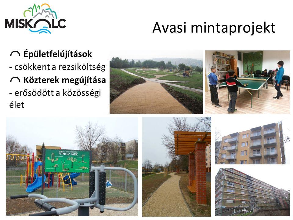 Avasi mintaprojekt Épületfelújítások - csökkent a rezsiköltség Közterek megújítása - erősödött a közösségi élet ]