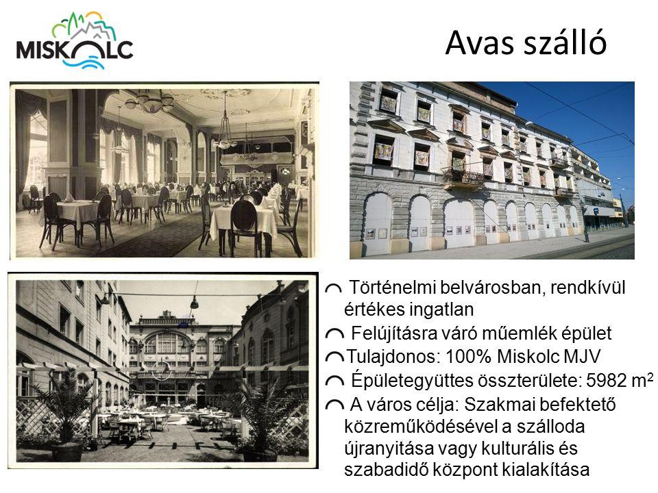 Avas szálló Történelmi belvárosban, rendkívül értékes ingatlan Felújításra váró műemlék épület Tulajdonos: 100% Miskolc MJV Épületegyüttes összterület
