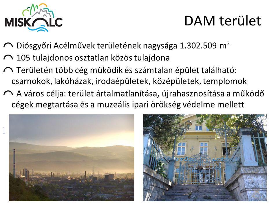 DAM terület Diósgyőri Acélművek területének nagysága 1.302.509 m 2 105 tulajdonos osztatlan közös tulajdona Területén több cég működik és számtalan ép