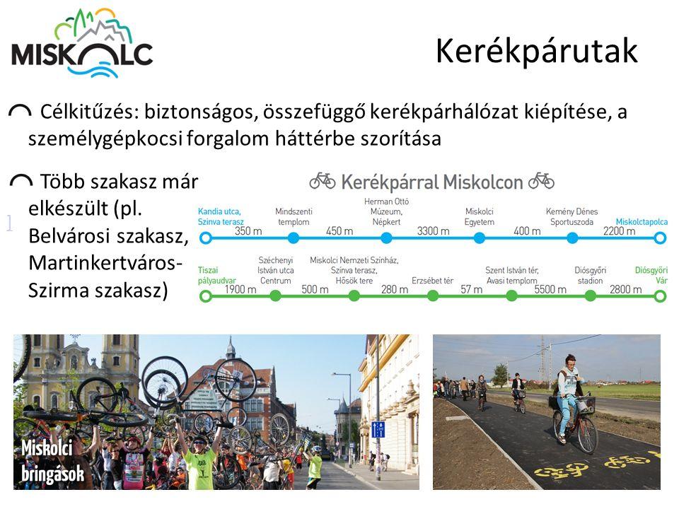 Kerékpárutak Célkitűzés: biztonságos, összefüggő kerékpárhálózat kiépítése, a személygépkocsi forgalom háttérbe szorítása ] Több szakasz már elkészült