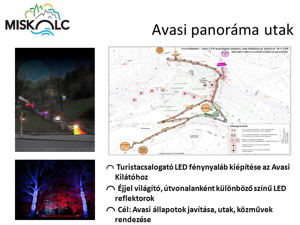 Avasi panoráma utak Turistacsalogató LED fénynyaláb kiépítése az Avasi Kilátóhoz Éjjel világító, útvonalanként különböző színű LED reflektorok Cél: Av