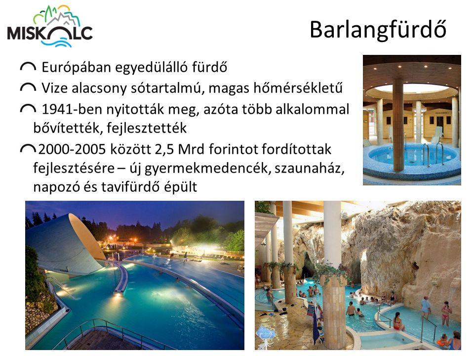 Barlangfürdő Európában egyedülálló fürdő Vize alacsony sótartalmú, magas hőmérsékletű 1941-ben nyitották meg, azóta több alkalommal bővítették, fejles