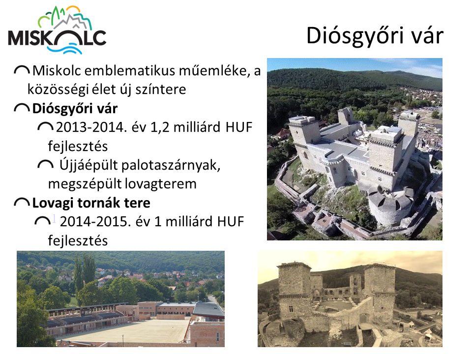 Diósgyőri vár Miskolc emblematikus műemléke, a közösségi élet új színtere Diósgyőri vár 2013-2014. év 1,2 milliárd HUF fejlesztés Újjáépült palotaszár