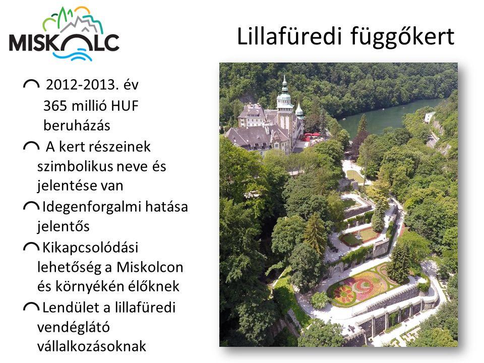 Lillafüredi függőkert 2012-2013. év 365 millió HUF beruházás A kert részeinek szimbolikus neve és jelentése van Idegenforgalmi hatása jelentős Kikapcs