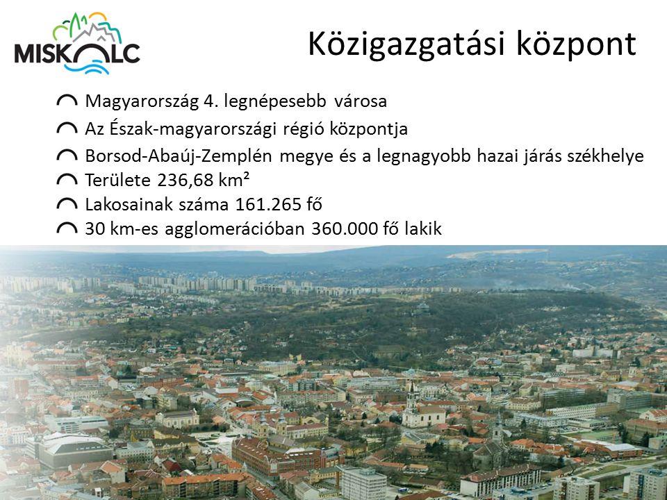 Közigazgatási központ Magyarország 4. legnépesebb városa Az Észak-magyarországi régió központja Borsod-Abaúj-Zemplén megye és a legnagyobb hazai járás