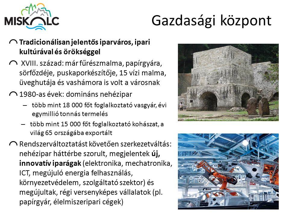 Jelentős ágazatok és cégek Tradicionális iparágak: Gyógyszergyártás Papírgyártás Élelmiszeripar Fémipar Gépipar Egyéb Új, innovatív iparágak: Elektronika Autóipar Űripar ICT Szolgáltató szektor, SSC-k 32 magyar Akkreditált Innovációs Klaszterből 3 központja Miskolc