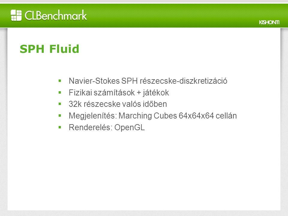 SPH Fluid  Navier-Stokes SPH részecske-diszkretizáció  Fizikai számítások + játékok  32k részecske valós időben  Megjelenítés: Marching Cubes 64x64x64 cellán  Renderelés: OpenGL