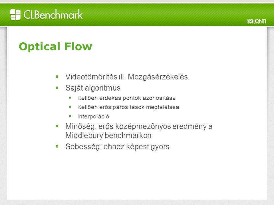 Optical Flow  Videotömörítés ill.