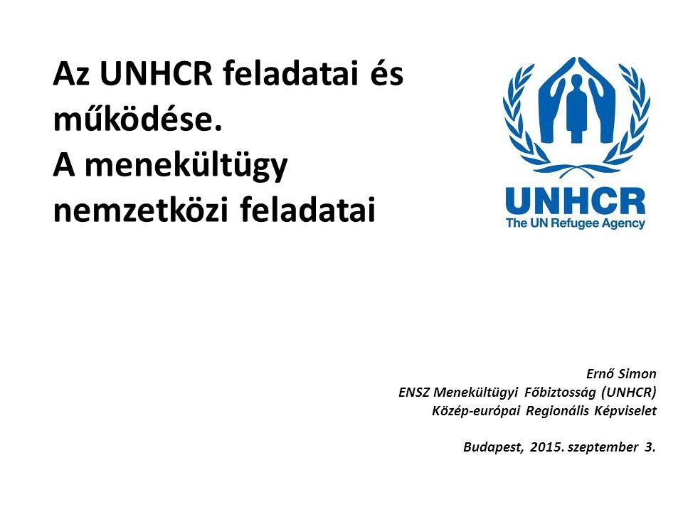Az UNHCR feladatai és működése. A menekültügy nemzetközi feladatai Ernő Simon ENSZ Menekültügyi Főbiztosság (UNHCR) Közép-európai Regionális Képvisele